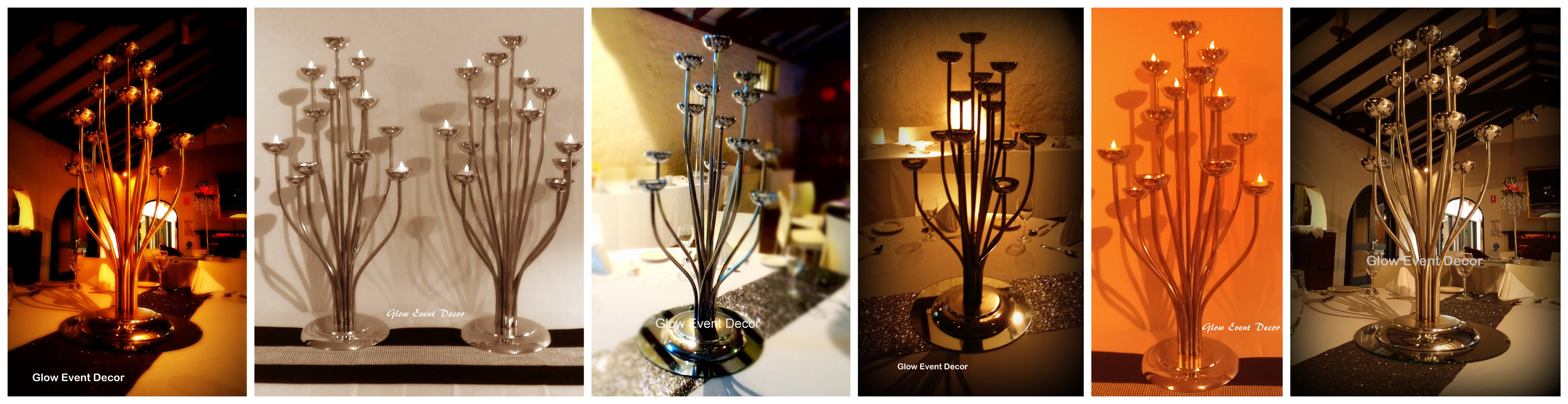 13 tier chrome candelabra table decoration centrepieces for hire in adelaide, from glow event decor