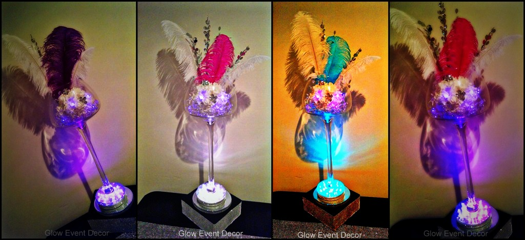 Brandy Balloon long stem vase table centrepiece with ostrich feathers and LED lighting for hire from Glow Event Decor