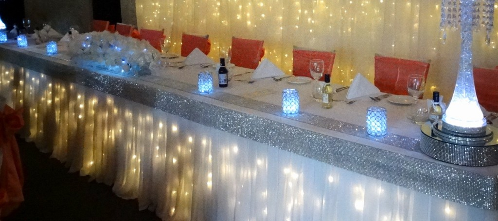 Twinkle light bridal skirting with chiffon overlay & diamante edging for hire in adelaide from Glow Event Decor