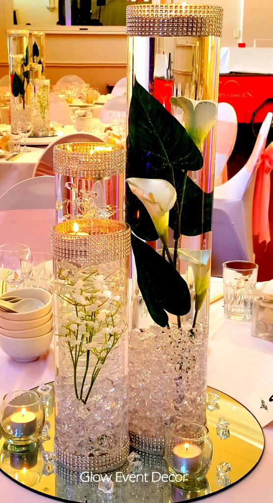 Cylinder Vase Trio submerged lillies, gyp sophlia, bablies breath, crystal garland for bridal wedding table, dream wedding centrepiece decor decoration for hire in adelaide Glow Event Decor