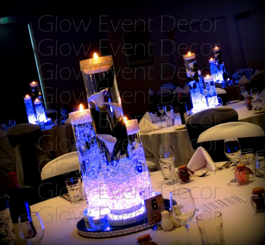 Cylinder Vase Trio with LED light bases and floating candles for hire Glow Event Decor Adelaide