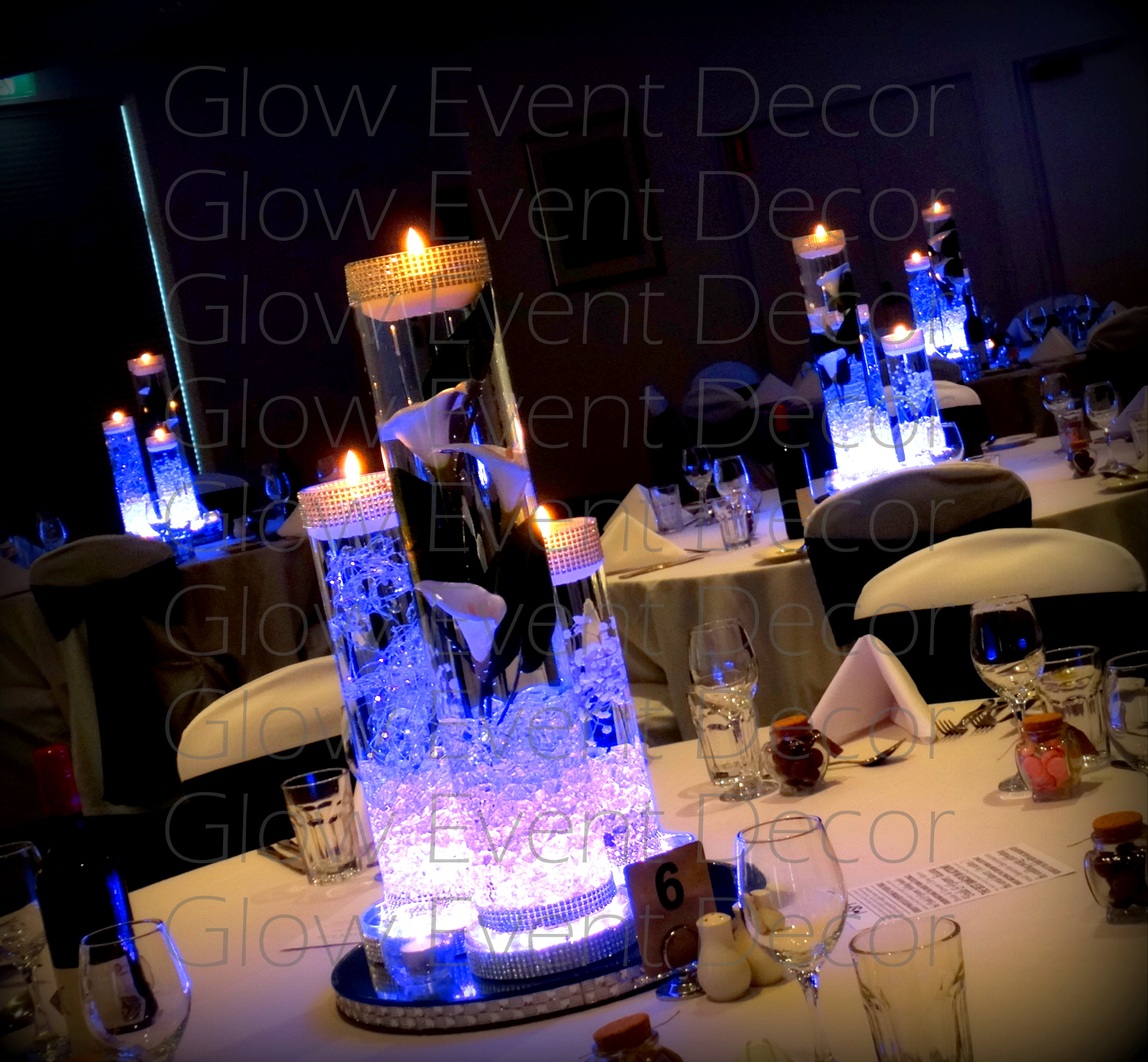 Vase Lighting Cylinder Trio With Led Light Bases And Floating Candles For Hire Glow