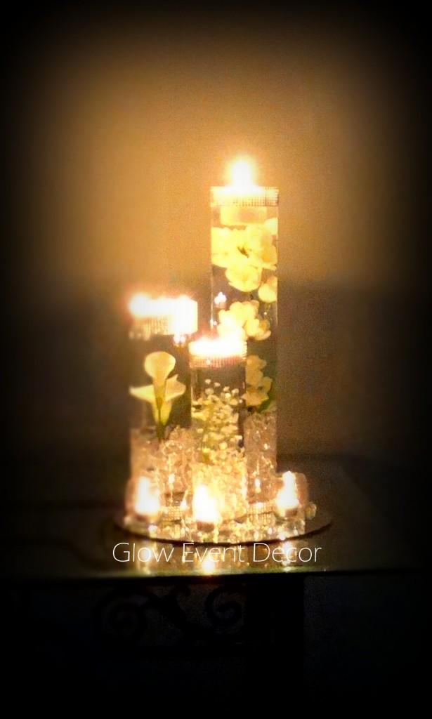 Cylinder Vase Trio submerged lillies, gyp sophlia, bablies breath, crystal garland for bridal wedding table, dream wedding centrepiece decor decoration for hire in adelaide Glow Event Decor