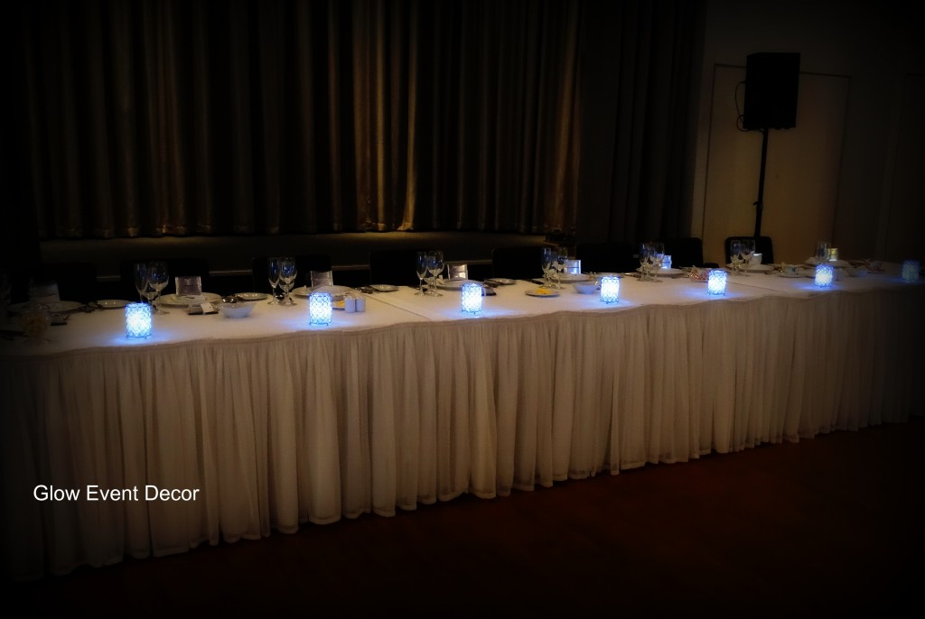 Plain white bridal skirting for hire in adelaide from Glow Event Decor