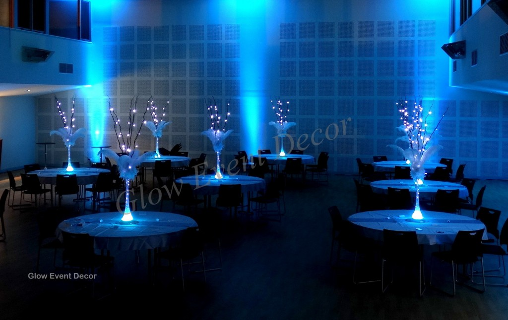 Ostrich feather & LED branch centrepieces