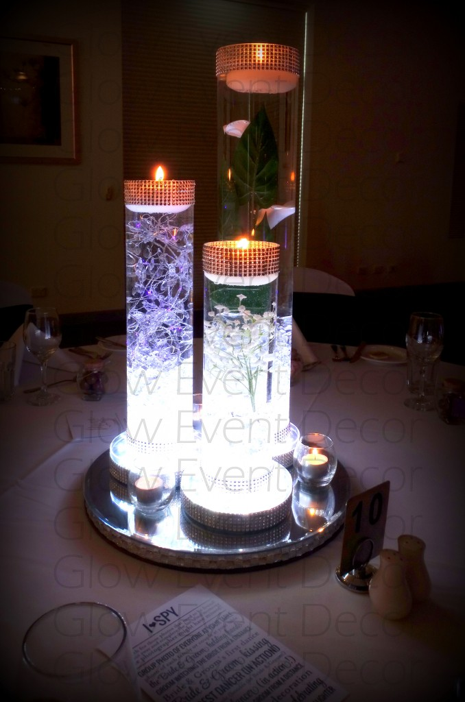 LED Cylinder vase trio with LED light base
