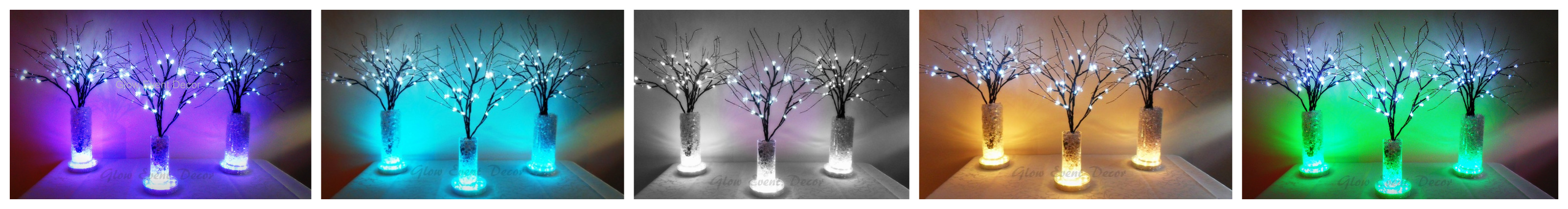 LED branch table centrepiece decorations with LED light base and crystal ice, for hire adelaide