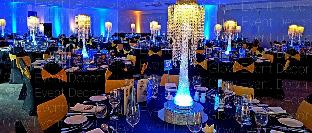 LED crystal chandelier drops centrepieces for wedding bridal table centrepieces for hire Glow Event Decor Adelaide