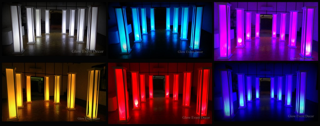 LED light up column pillar decorations for wedding, party, functions for hire from Glow Event Decor Adelaide