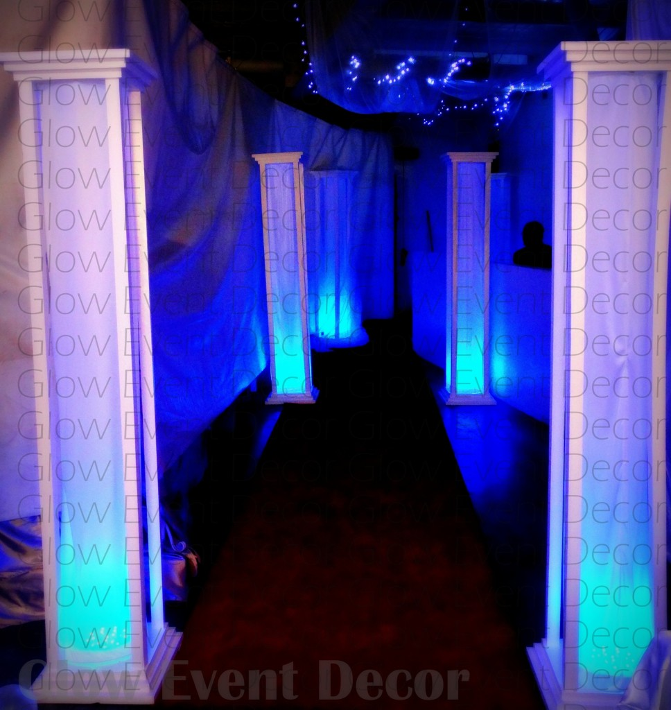 LED light up pillar columns backdrop entrance in blue for hire in adelaide from glow event decor