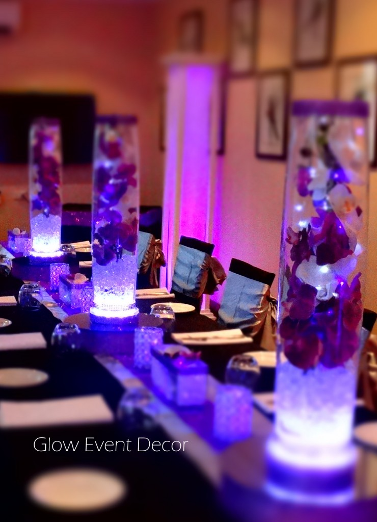 LED orchid cylinder vases wedding bridal table centrepiece decorations for hire Glow Event Decor, Adelaide