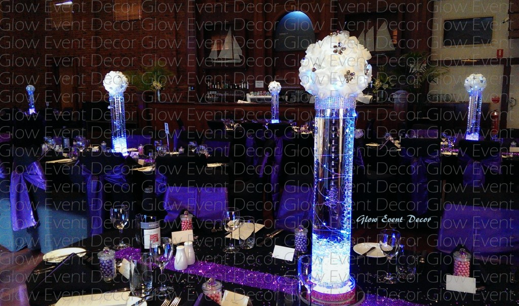 LED light up, fairy light, rose kissing ball, cylinder vase with submerged crystal drops sumberged LED lighting and LED light base table centrepiece decoration for hire, Glow event decor