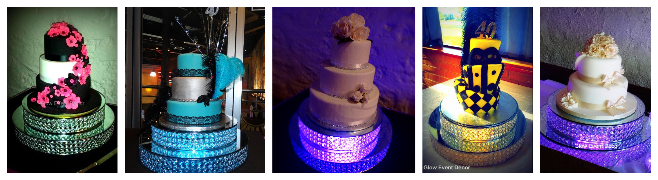 Light up LED two tier crystal cake stands for hire glow event decor adelaide