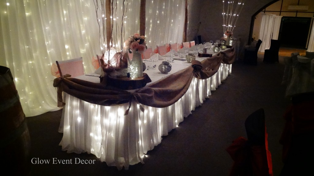 Rustic Hessian Bridal table twinkle fairy lights with rustic twinkle fairy light bridal backdrop, wedding reception table decoration centrepieces for hire Glow Event Decor Adelaide