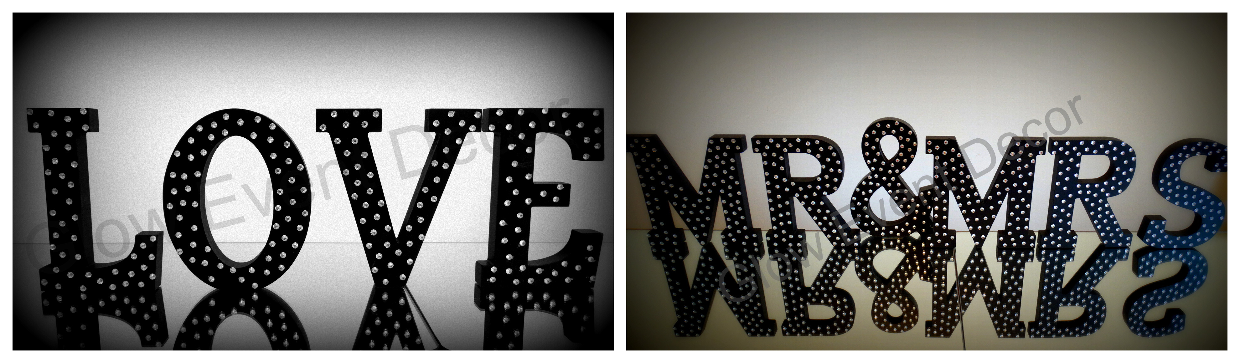 black diamante letters