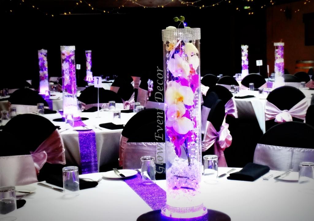 LED orchid cylinder vase centrepiece