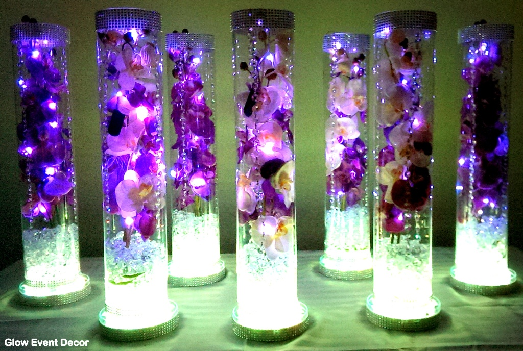 Led Orchid Cylinder Vase Glow Event Decor