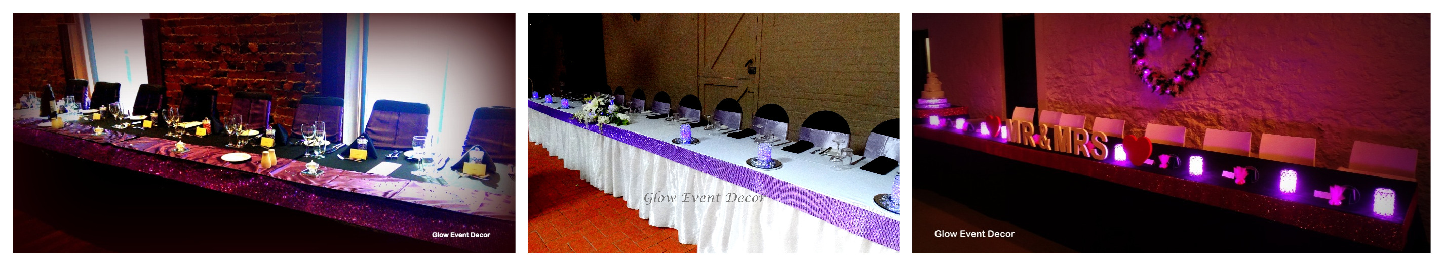 diamantle table edging for bridal wedding tables for hire glow event decor