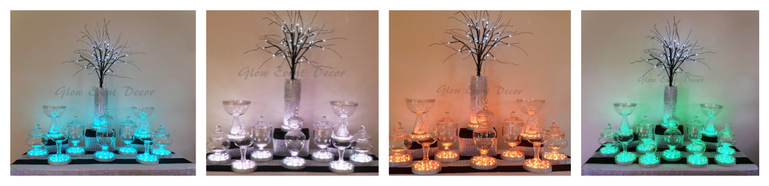 double width LED branch table centrepiece decorations with LED light base and crystal ice, with lolly candy buffet for hire adelaide