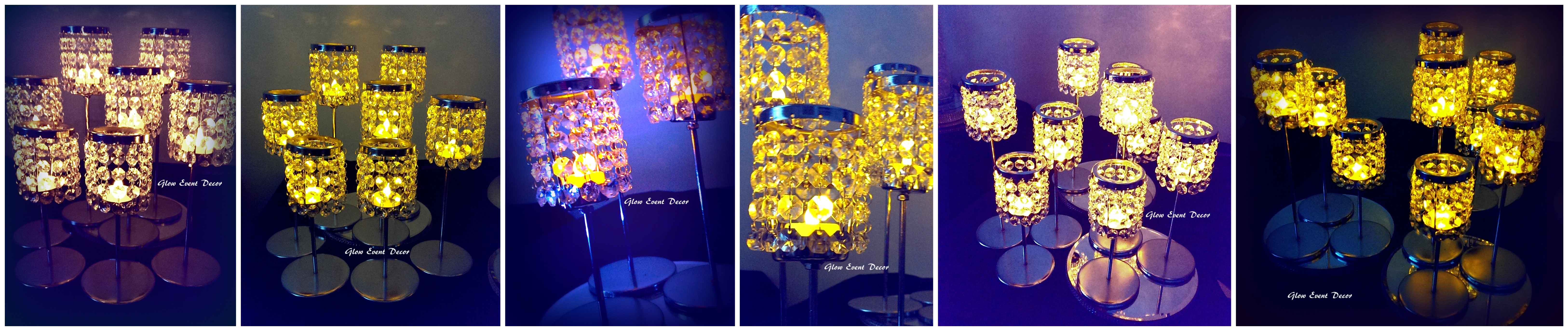 led t lite candle chandelier table decoration centrepieces for hire from Glow Event Decor