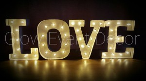 Love Mini Marquee Light Up Letters for hire Adelaide Glow Event Decor