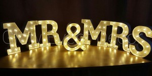 Mr & Mrs Mini Marquee Light Up Letters for hire Adelaide Glow Event Decor