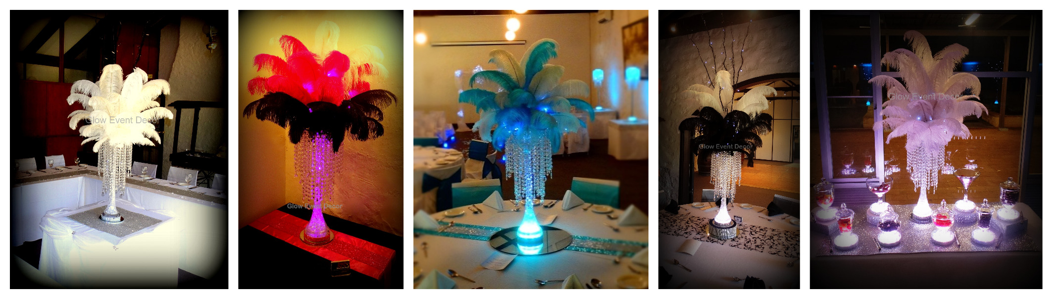 Ostrich feather table centrepiece decorations with LED eiffel tower vase, and LED lighting, available for hire from glow event decor in adelaide