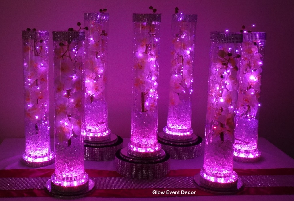 pink LED cylinder vase with orchids, fairy lights and light base