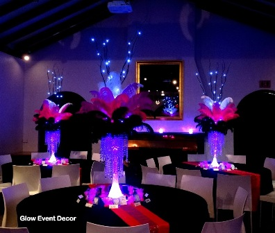 LED Eiffel tower ostrich feather centrepieces