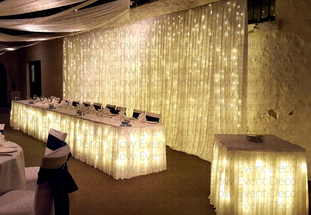 Freestanding -fairy-light wedding bridal table-backdrop with fairy light bridal-table-skirt-fairy light-cake-table-skirting for hire Adelaide Glow Event Decor South Australia