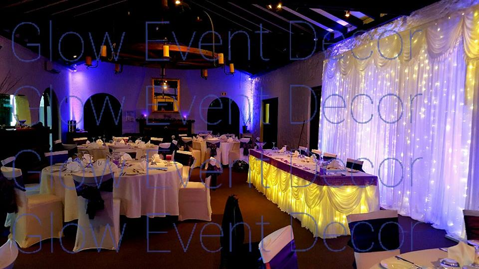 Fairy Light backdrop with LED Colour Wash and Fairy Light Bridal Table