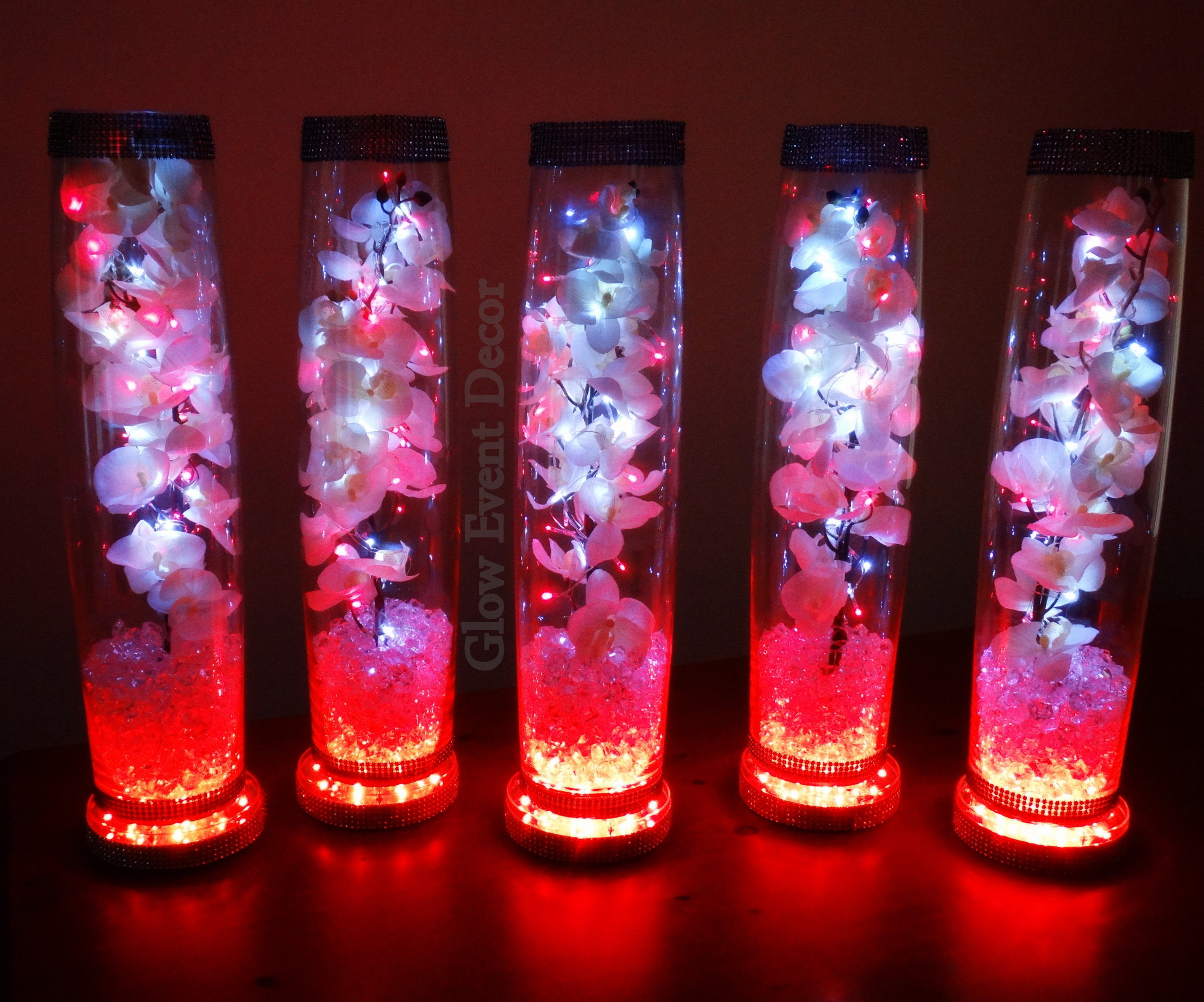 Led orchid cylinder vase glow event decor cylinder vase trio submerged lillies gyp sophlia bablies breath crystal garland for bridal floridaeventfo Gallery