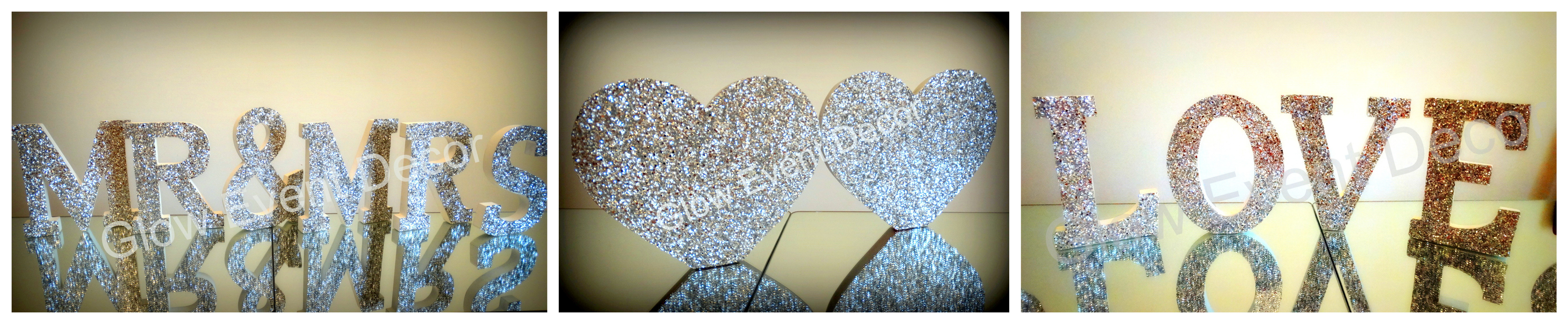 silver sparkle letters