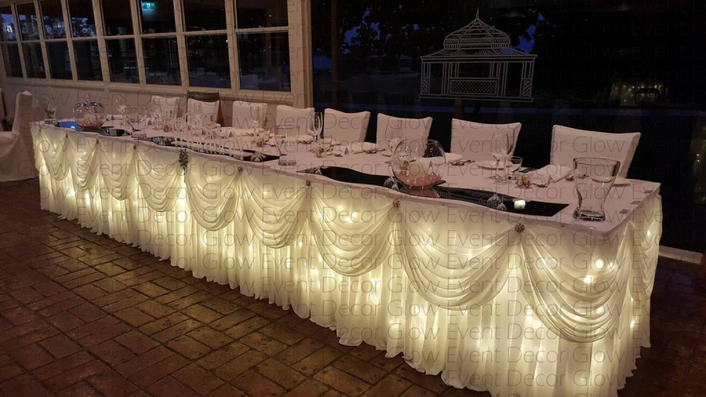 fairy light wedding bridal table swag-skirting for hire Adelaide Glow Event Decor