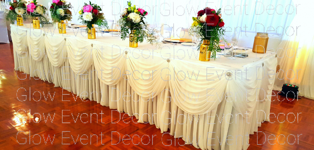 swagged-bridal-table-skirt-diamante-pinch-points for hire Adelaide Glow Event Decor