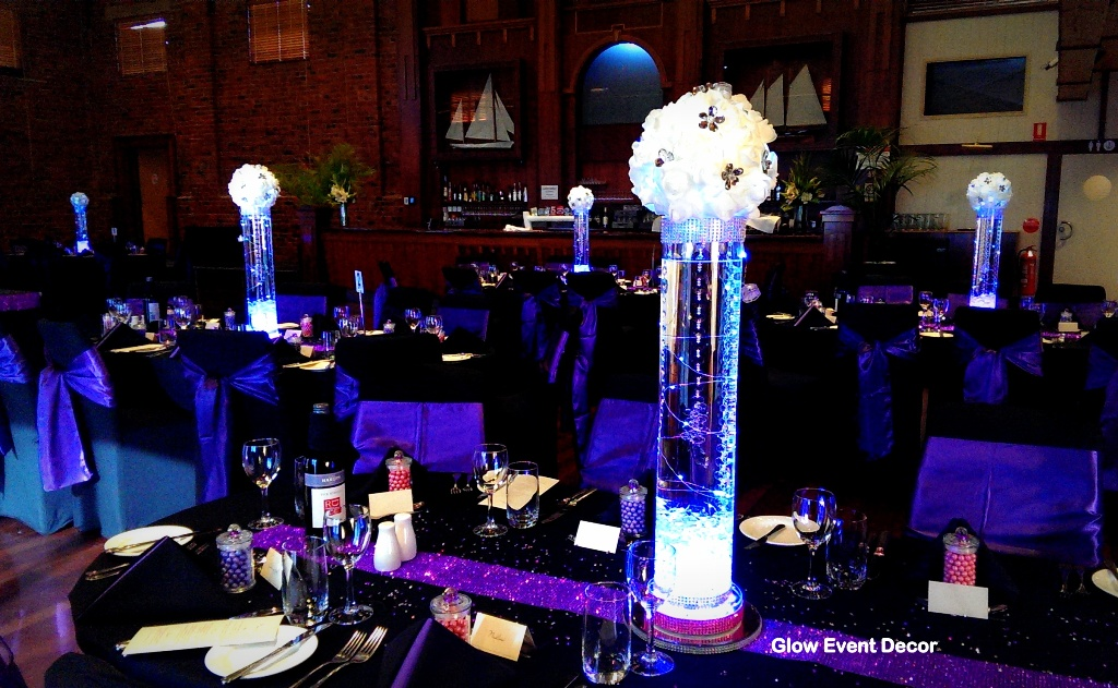 LED cylinder vase & LED Kissing Ball centrepiece