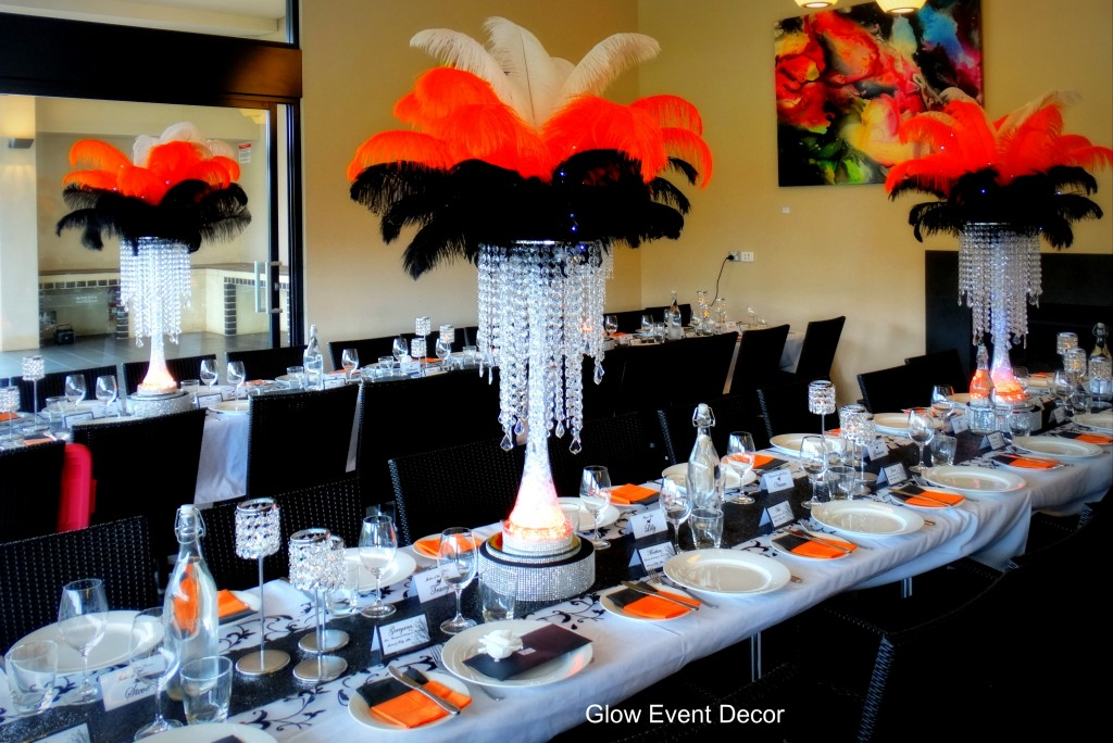 Chandelier drop ostrich feather centrepieces
