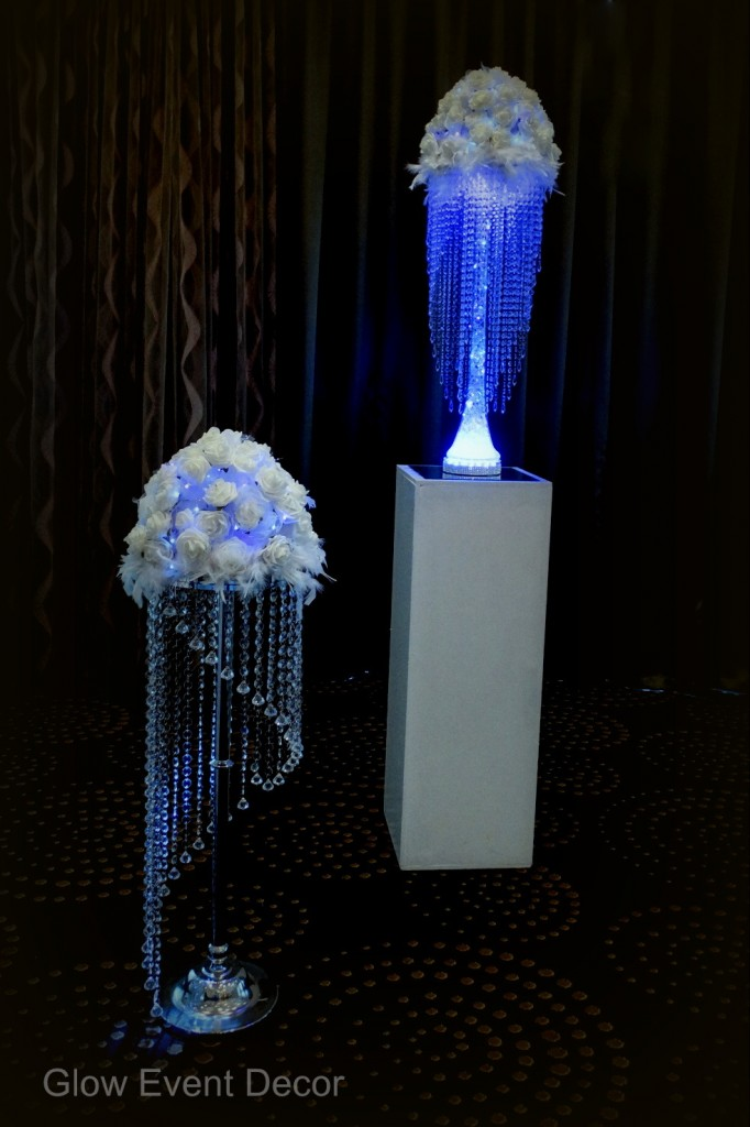 LED chandelier stands with backlit LED white roses