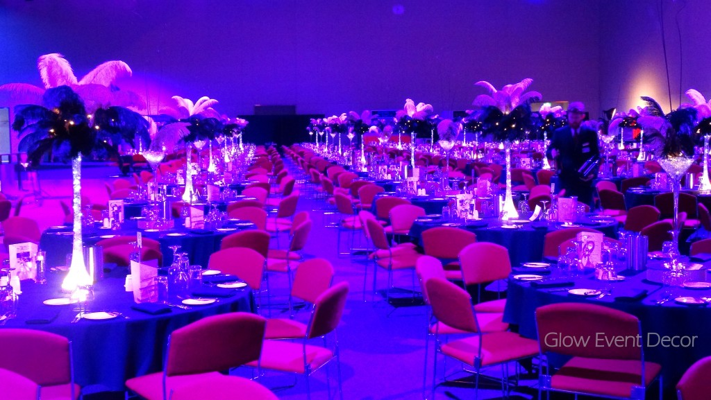 LED ostrich feather centrepieces.