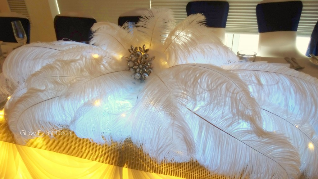 Bridal table ostrich feather centrepiece.