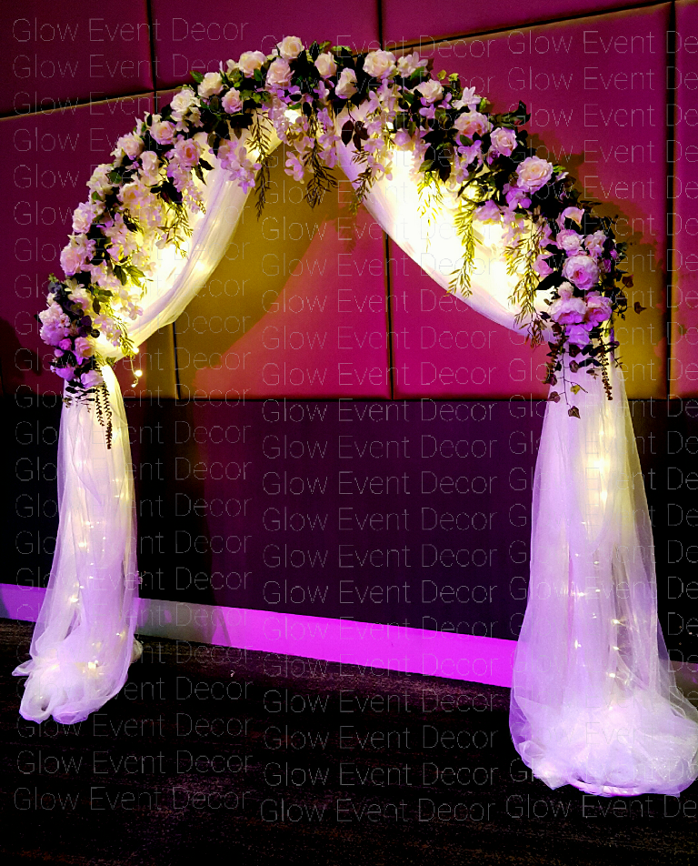 2m wedding backdrop bridal ceremony arch with draping flowers floral ivy greenery draping for hire Adelaide Glow Event Decor.png