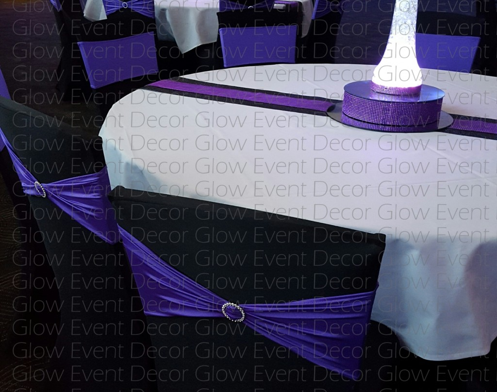 black-lycra-chair-cover-with-coloured-diamante-band-purple-diamante-runner-and-riser-for-hire-glow-event-decor-wm