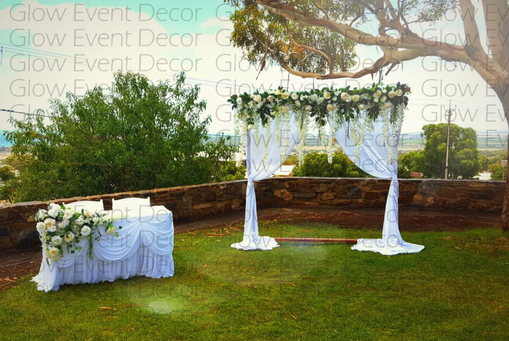 wedding ceremony arch arbor with flower floral greenery ivy for hire adelaide Glow Event Decor