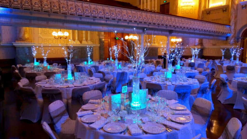 Winter Wonderland.  White LED branches with fairy lights at Adelaide Town Hall