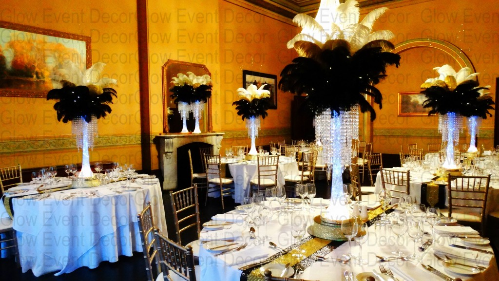 Black, Gold & White Ostrich Feathers with Chandelier Drops at Ayres House