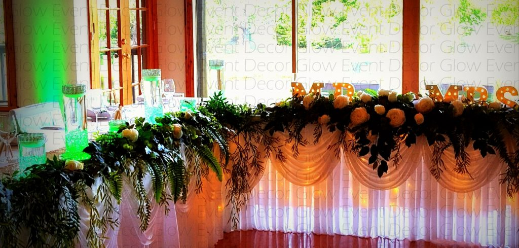 botanical hanging greenery fernery bridal table swagging for hire Glow Event Decor