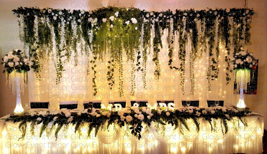 fairy light botanical ivy greenery fernery floral wedding bridal table backdrop with fairy light wedding bridal table fairy light skirting for hire Glow Event Decor Adelaide South Australia