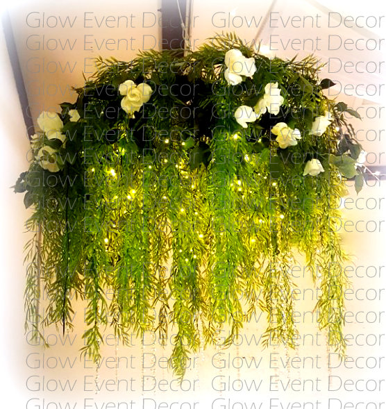 hanging greenery ivy floral botanical ceiling chandelier with fairy lights