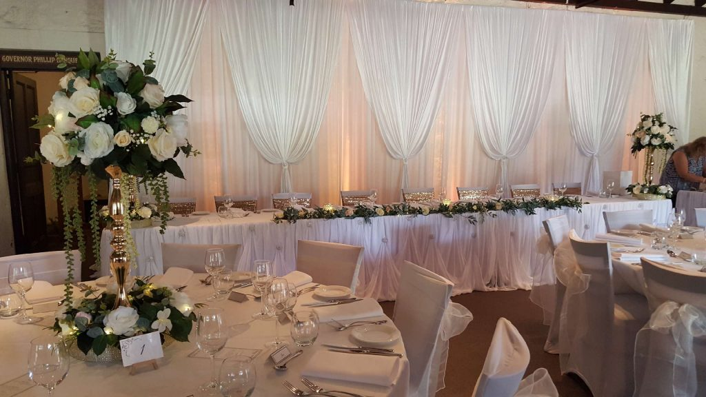 bridal wedding table backdrop for hire Glow Event Decor Adelaide